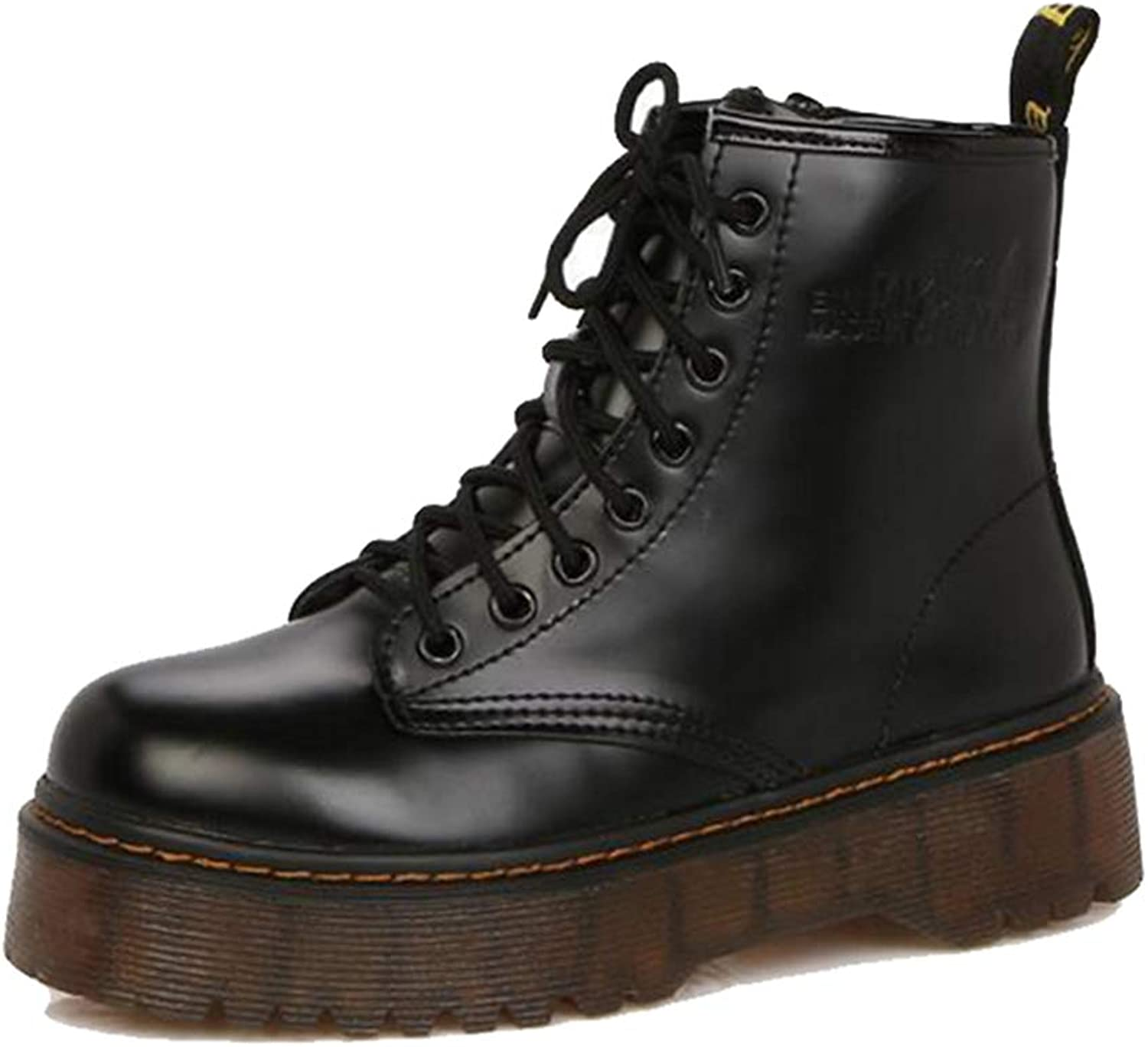 York Zhu Women Boots, Lacquer Leather, Autumn Thick Soles Martin's Boots