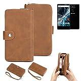 K-S-Trade® Handy-Schutz-Hülle Für Archos Sense 55 S Portemonnee Tasche Wallet-Case Bookstyle-Etui Braun (1x)