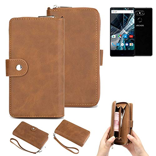 K-S-Trade® Handy-Schutz-Hülle Für -Archos Sense 55 S- Portemonnee Tasche Wallet-Case Bookstyle-Etui Braun (1x)