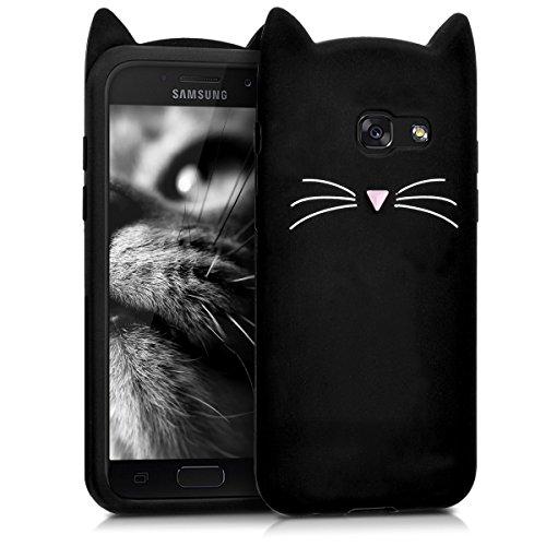 kwmobile Hülle kompatibel mit Samsung Galaxy A3 (2017) - Handy Hülle Handyhülle - Silikon Cover Schutzhülle Katze Schwarz Weiß