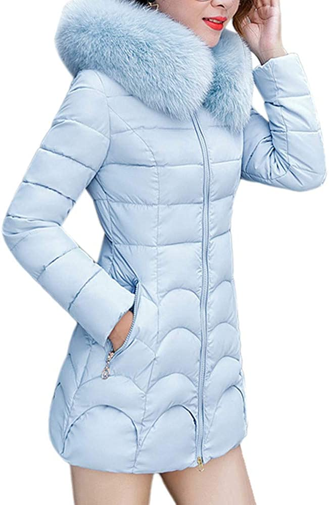 MODOQO Women's Long Parkas Coat for Winter Warm Thick Down Coat Overcoat