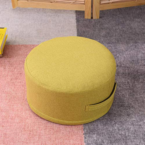 Gycdwjh Meditation Cushion, Round Yoga Pillow with Zipper Internal EPE Padding Floor Pillow for Yoga Kneeling Pillow for Indoor Yoga Meditation Chair,yellow