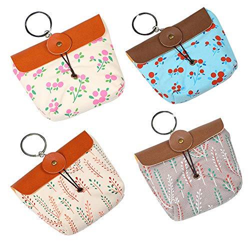 Tinmall 4 Stück kleine Täschchen mit Reißverschluss, Mädchen Münzbörse Kleingeld Tasche, Multifunktional als Schlüsseltasche Medikamententasche Münzbeutel Geldbeutel
