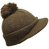 (ディグズハット)DIGZHAT 短い つば付き ニット帽 ボンボン ワッフル地 ジープ帽 メンズ レディース (ブラウン)