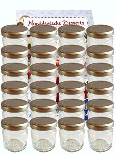 hocz 100er Set Sturzgläser Mini Gläser 53 ml Deckelfarbe Silber to 43 inkl. 100 Etiketten zum Beschriften Rundgläser Weiß Honig Marmeladengläser Einweckgläser Honig Einmachgläser Portionsgläser