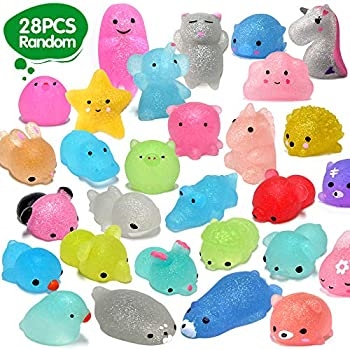 ORWINE Squishies 28pcs Mochi Squishys Toys 2nd Generation Party Favors for Kids Birthday Gift for Girl Boy Glitter Mini Squishy Mochi Animal Squishies Stress Relief Toy Xmas Gift for Kid Adult Random