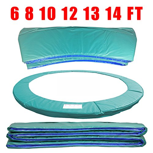 Greenbay 8FT 244cm Premium Replacement Trampoline Surround Pad | UV resistant PVC top | EPE foam(thickness:15mm, width:300mm) | Safety Guard Spring Cover Padding Pads Green