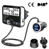DAB+ Autoradio Empfänger Transmitter, Wonsidary Auto DAB Digital Radio Adapter mit FM Transmitter Bluetooth Freisprecheinrichtung Bluetooth Audio MP3, 3.5mm Aux-Out+USB KFZ Ladegerät+TF...