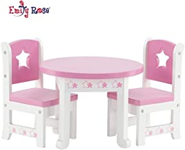 Emily Rose 14 Inch Doll Furniture | Lovely Pink and White Table and 2 Chair Dining Set with Beautiful Star Motif | Fits American Girl Wellie Wisher Dolls