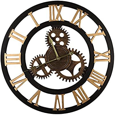 Y-Hui Gear Wall Clock Living Room Machinery Exposed Industrial Wind Wall Clock Bedroom Mute