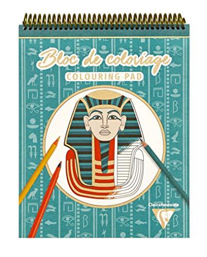 Clairefontaine 96178C - Bloc de colorear en espiral (20 hojas, 25 x 20 cm, 250 g, 10 diseños x 2 flores), diseño egipcio
