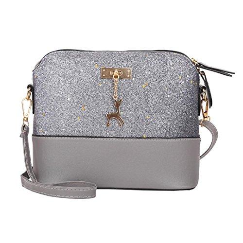 Dragon868 Elegante Umhängetasche aus Leder | Arbeit Büro Clutch Damentasche Crossbody Damenhandtasche Freizeit Gurt Handtasche Rucksack Schule (Weiß) (Grau)