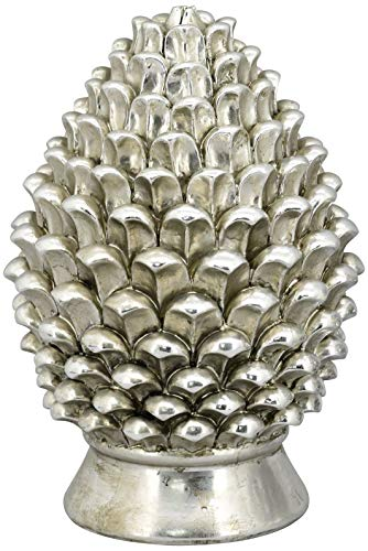 Exner dekorativer ausgefallener Pinien-Zapfen Deko-Zapfen Altsilber in eleganter Shabby Landhaus-Optik (groß)
