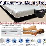 DorsalTherapy Matelas Memoire de Forme 180 x 190 x 8cm réels - Efficace Contre sciatique,hernie discale, lombalgie,fibromyalgie,etc.