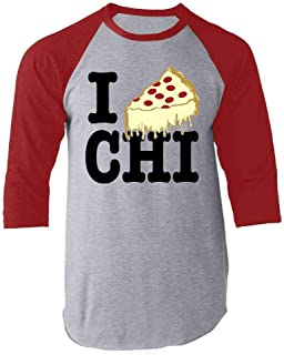 I Pizza Chicago Style Deep Dish Love Raglan Baseball Tee Shirt