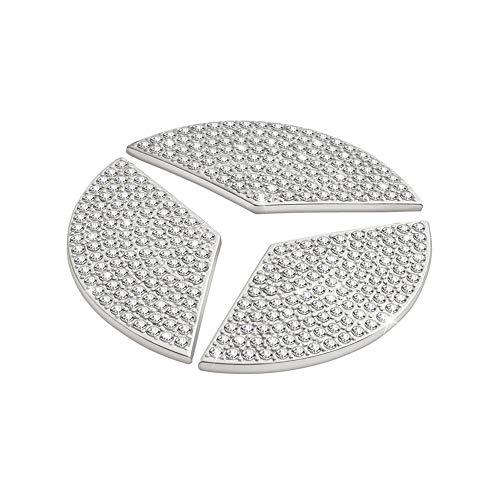 VDARK Für Mercedes Benz Innen CLA Teile Trim Lenkrad Logo Emblem Badge Aufkleber Visiere Dekorationen Mercedes C E S Klasse Zubehör GLC GLA GLK AMG Frauen Bling Kristall Silber 45mm 3 Stück