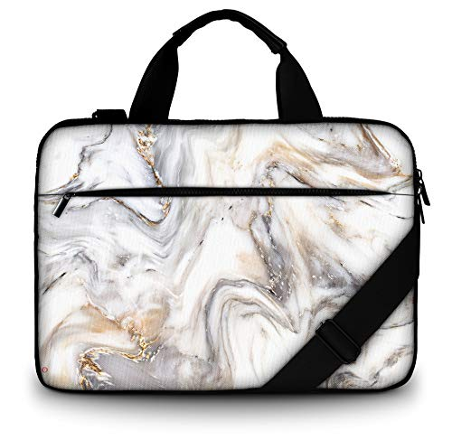 RICHEN Canvas Laptop Shoulder Bag Compatible with 11.6/12/12.9/13 Inches Laptop Netbook,Protective Canvas Carrying Handbag Briefcase Sleeve Case Cover with Side Handle (11-13 inch, Marble)