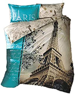 GOLD CASE Paris Series comforter cover Set - 3D Paris in Love - The only Real Twin Size - Made in Turkey - 100% cotton / Ranforce / 3 pieces - Original Item