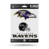 NFL Rico Industries Die Cut 3-Piece Triple Spirit Sticker Sheet, Baltimore Ravens