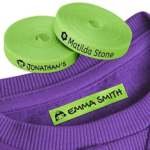 100 Etiquetas Personalizadas con Nombre e Icono para marcar la ropa. Etiquetas de tela Verde termoadhesiva para planchar en camisetas, pantalones, abrigos y todo tipo de prendas de niños.