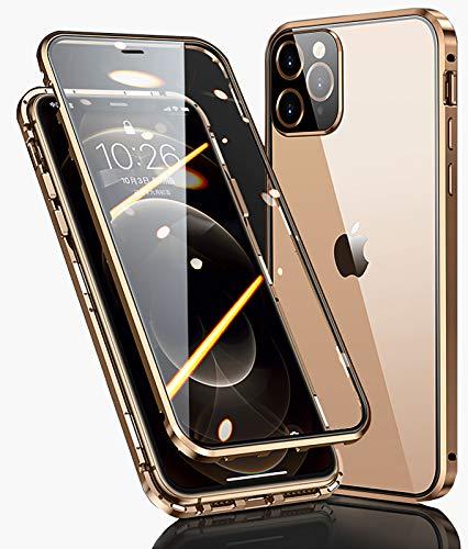 WEYNR Funda Apple iPhone 13 Pro Max Magnética Carcasa,iPhone 13 Pro Max 5G Funda Protectora de Cuerpo Completo 360° Cristal Templado Cover con Protector de Pantalla,Antigolpes Metal Bumper Case,Dorado