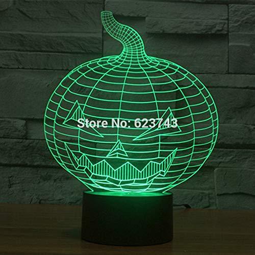 Decoración única para el hogar Calabaza malvada Acrílico 3D LED Luz de noche Adorno USB Lámpara de mesa Sueño Regalo de Halloween Luz de noche colorida