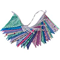Flyingstart Floral Double Sided Fabric Bunting - 10m - 30 Flags Vintage Shabby Chic Party Banner