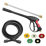 SUNTAI 8-Parts Pressure Washer Replacement Kit,4000PSI Pressure Washer Gun & 25' PVC Hose (M22,14mm),16' Pressure Washer Wand,5 Nozzle Tips
