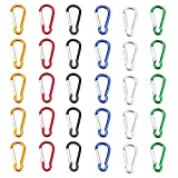 SAMLOO 30pcs Mini Aluminum Carabiner Spring Clip Hook Keychain for Camping Hiking Fishing Traveling Backpack Bottle (Colour)