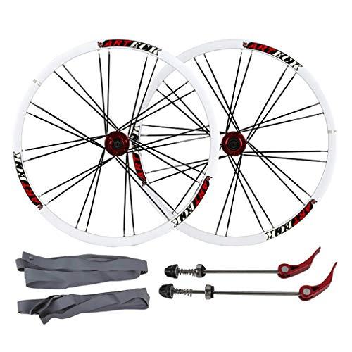 Zatnec 26 'ruote per bici, doppia parete MTB Rim sgancio rapido V-Brake ibrido/Mountain Bike 24 fori disco 7 8 9 10 velocità (colore : A, Dimensioni: 26')
