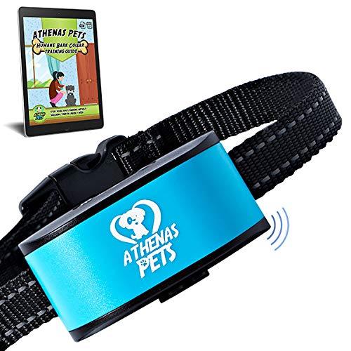 Athenas Pets Dog Bark Collar, Humane Bark Collar Using Beep, Vibration, No Shock, Rechargeable Bark Collar All Breeds, Bark Collar Small Dog, Medium Dog, Blue, Pink, Green Anti Bark Collar