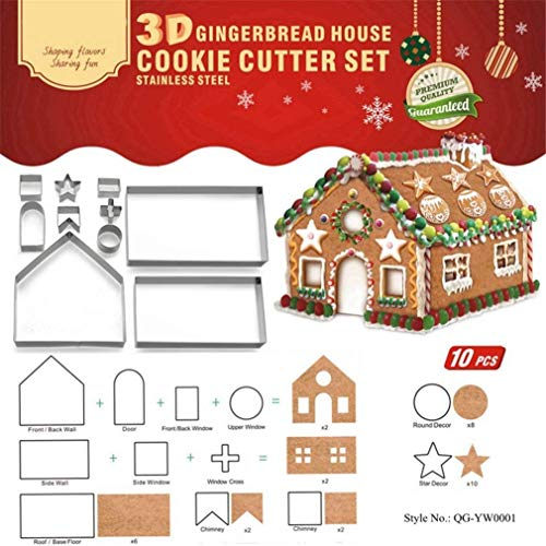 Natale 10 pezzi Taglierine del Biscotto Formine Stampini In Acciaio Inossidabile - 3D Formine per Biscotti a Forma di Cartone Animato per decorazioni in Pasticceria - Forma di Casa di Marzapane #1