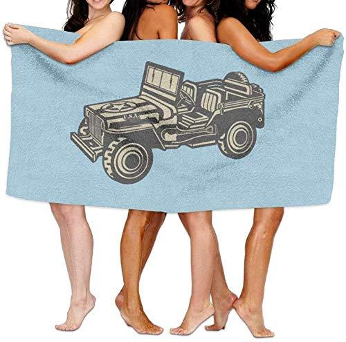 BAOYUAN0Toalla de Playa Piscina de Dibujos Animados Jeep Militar Toalla de baño de Microfibra súper Absorbente 80 * 130 cm H320