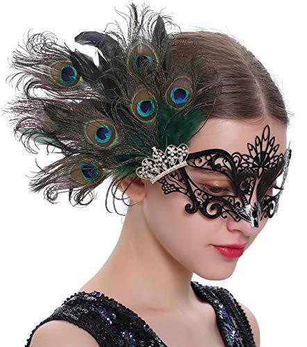 Coucoland Máscaras de diamante con plumas de metal veneciano bola máscara 1920s Flapper disfraz máscara de ojos (negro)