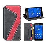 MOBESV Smiley Funda Cartera Sony Xperia Z3, Funda Cuero Movil Sony Xperia Z3 Carcasa Case con Billetera/Soporte para Sony Xperia Z3 - Negro/Rojo