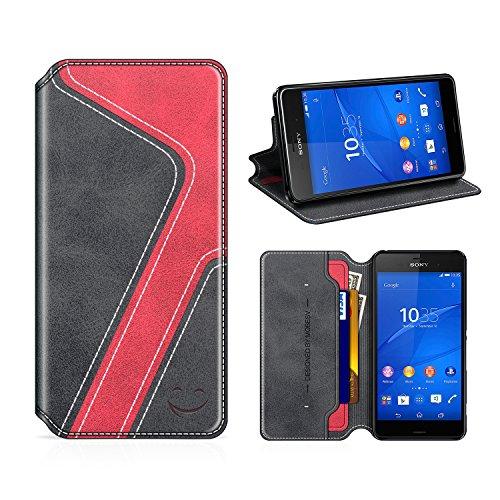 MOBESV Smiley Sony Xperia Z3 Hülle Leder, Sony Xperia Z3 Tasche Lederhülle/Wallet Hülle/Ledertasche Handyhülle/Schutzhülle mit Kartenfach für Sony Xperia Z3, Schwarz/Rot