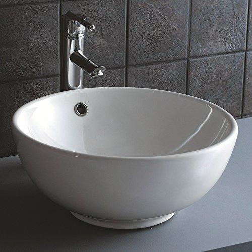 NEG Waschbecken Uno20A (rund) Aufsatz-Waschschale/Waschtisch (weiß) mit hohem Rand und Nano-Beschichtung
