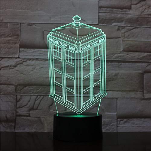PLIHD Luz Nocturna 3D Cabina Telefónica,Lámpara De Mesilla De Noche Para Niños 16 Colores Cambiantes De Luz Led Con Mando A Distancia Y Táctil Inteligente, Regalos De Navidad Y Cumpleaños