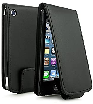 Bastex Leather Wallet for Touch 4 4th Generation iPod - Black Flip Case
