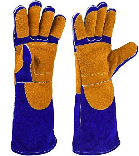 HOGAR AMO Schweißerhandschuhe Leder 16 Inch Hitzefest Grill Handschuhe Lange Ärmel BBQ Schweißen Handschuhe Blau+Orange
