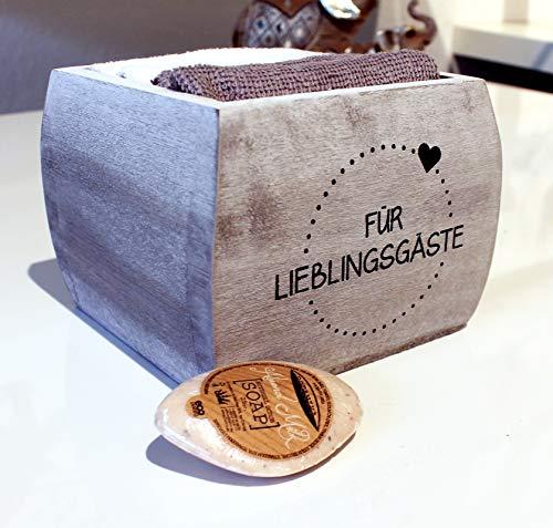Feste Feiern Geschenk-Box Für Lieblingsgäste Handtuchset 4X Frotteehandtücher 100% Baumwolle 30x30cm grau weiß Gäste Holzbox 13x13x11 Bad WC Hotel Seife