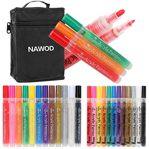 24 Premium Acrylic Paint Pens, Double Pack of Both Extra Fine and Medium Tip, for Rock Painting, Mug, Ceramic, Glass, and Fabric Painting, Water Based Non-Toxic and No Odor