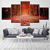 Angel&H Moderno Otoño Rojo Caído Hojas Bosque Póster 5 Piezas Lona Papel Pintado Modular Art Pintura Casa Sala Decoración Imágenes,B,30x40x2+30x80x1+30x60x2