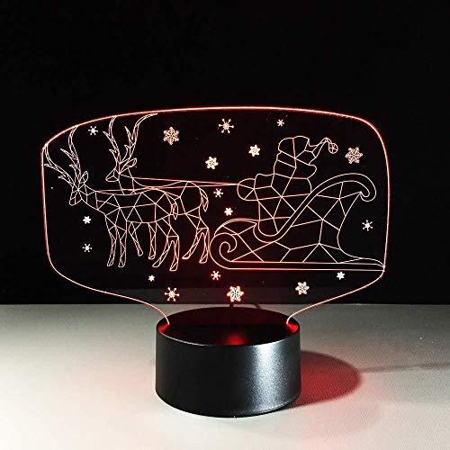 Slee lamp met rendieren 7 kleuren 3D Visual LED Kerstman tafellamp voor kinderen tafellamp voor auto USB verlichting voor slaap kerstcadeau