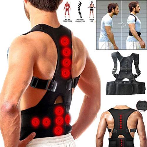 JMung'S Rückenstabilisator für Damen & Herren zur Haltungskorrektur, Magnetische Orthopädie Haltungstrainer Lindern Schmerzen bei Schmerzen & hängenden Schultern,Schwarz,XL