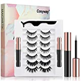 [2020 Upgrade] Magnetic Eyelashes, 7 Pairs Magnetic Lashes and Eyeliner Kit, No Glue Needed, Natural Look Magnetic Fake Lashes with 2 Tubes of Magnetic Eyeliner & Tweezers-Easy Use and Reusable