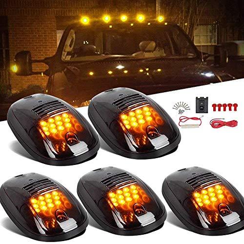 Amber Cab Marker Light for Dodge Ram 1500 2500 3500 4500 5500 Pickup Trucks 2003-2018, 12 LED Roof Running Lights Top Clearance Lamp w/Wiring Harness (Smoke Lens, 5 Pcs)