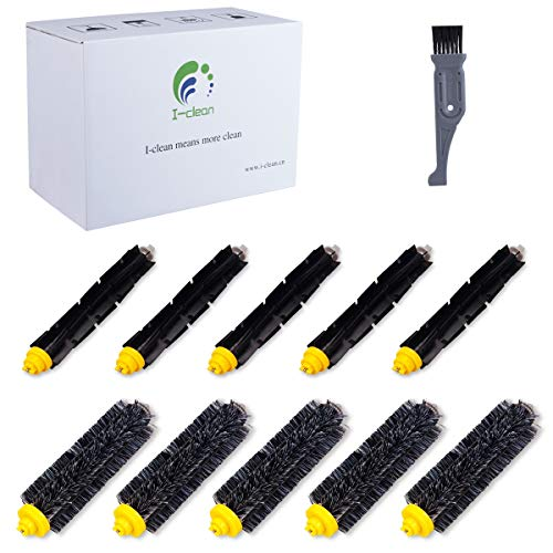 I clean Roomba Replenishment Kits, 10 Packs Brush Accessories Parts Compatible with iRobot Roomba 650 675 690 770 780 790 Vacuum Cleaner (600&700 Series),with A Free Cleaning Brush