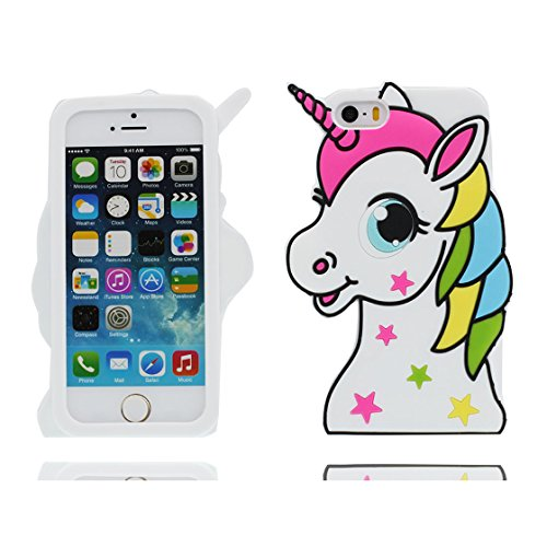 iPhone 5 Carcasa, Funda Premium TPU Nuevo diseño duradero Precio bajo en iPhone 5S case 3D Unicornio para iPhone 5 5s SE 5C 5G ( blanco )