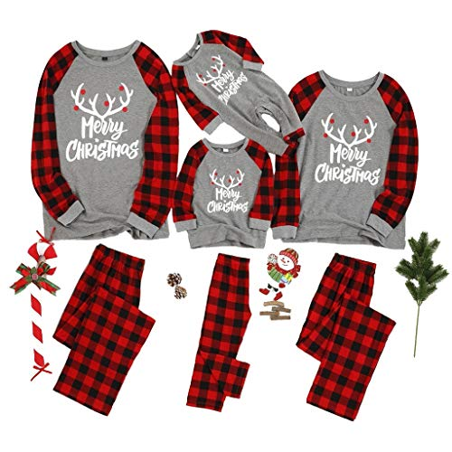 Matching Family Pajamas Sets Merry Christmas Letter Printed PJ's with Plaid Long Sleeve Tee and Pants Loungewear Red